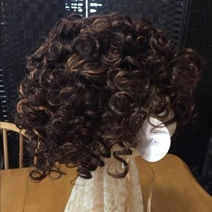 New Brunette Two Tone WIG Short Curly Synthetic